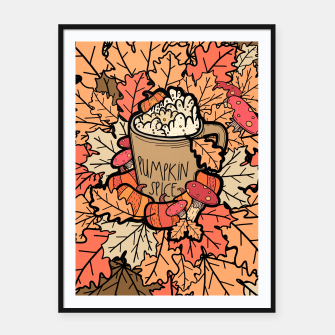 Thumbnail image of Pumpkin spice coffee Framed poster, Live Heroes