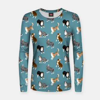 Miniatur Australian Shepherd Pattern (Teal Background) Women sweater, Live Heroes