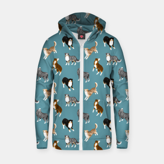 Miniatur Australian Shepherd Pattern (Teal Background) Zip up hoodie, Live Heroes