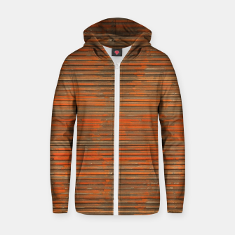 Orange Grunge Print Zip up hoodie thumbnail image