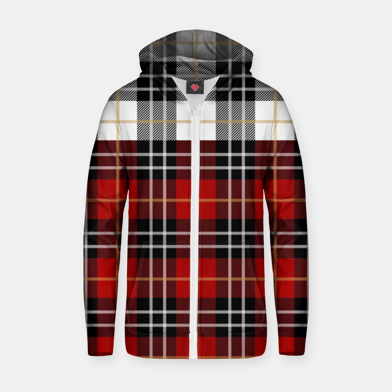 Image of Checkered multicolor Winter Design  Zip up hoodie - Live Heroes