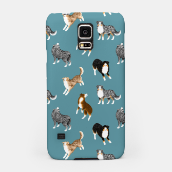 Miniatur Australian Shepherd Pattern (Teal Background) Samsung Case, Live Heroes