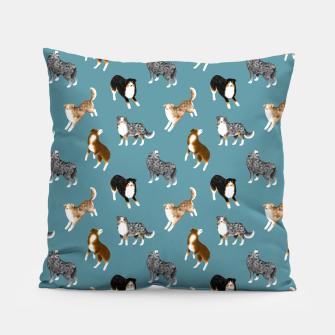 Miniatur Australian Shepherd Pattern (Teal Background) Pillow, Live Heroes