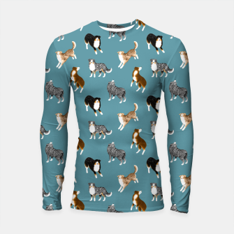 Miniatur Australian Shepherd Pattern (Teal Background) Longsleeve rashguard , Live Heroes