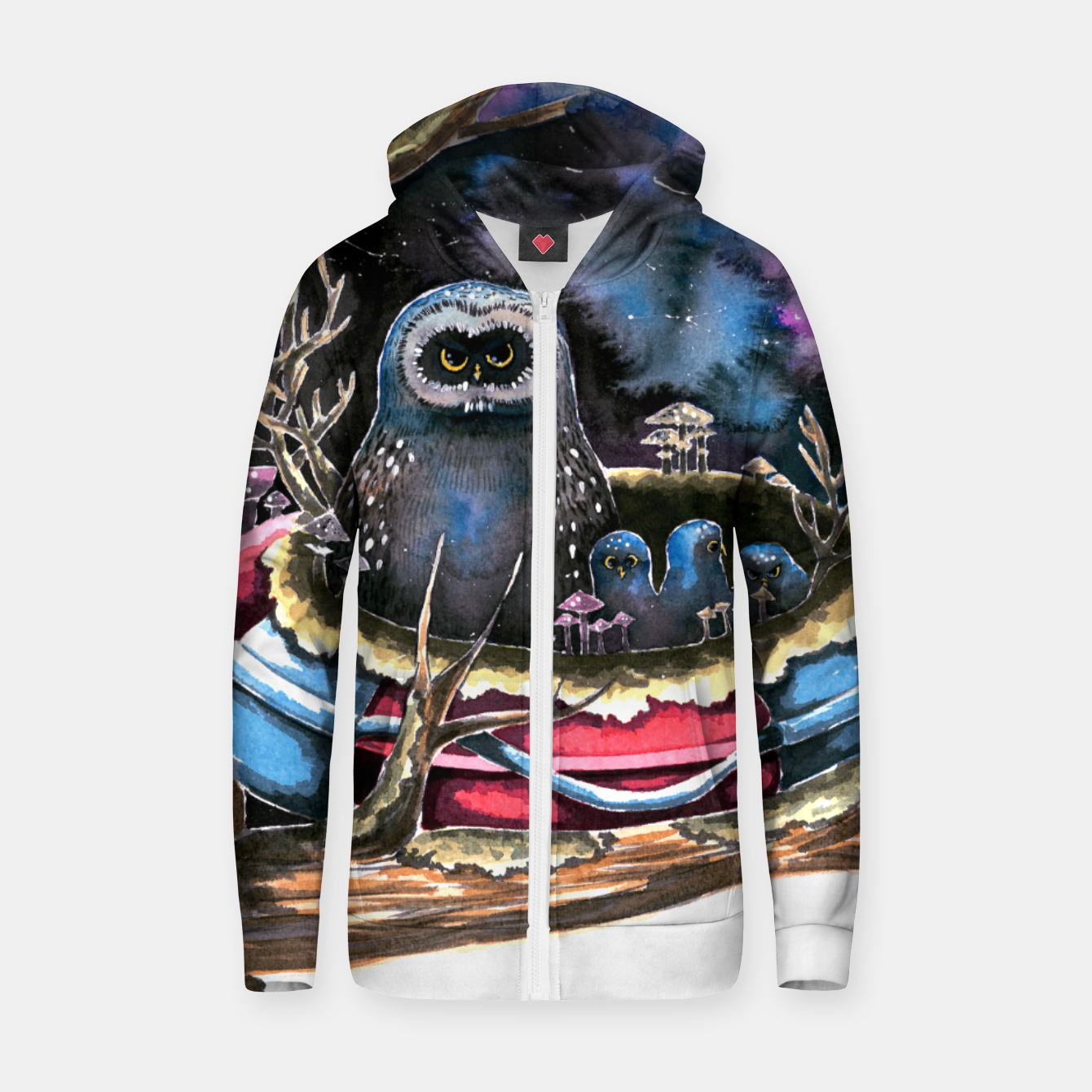 Image of owls Zip up hoodie - Live Heroes