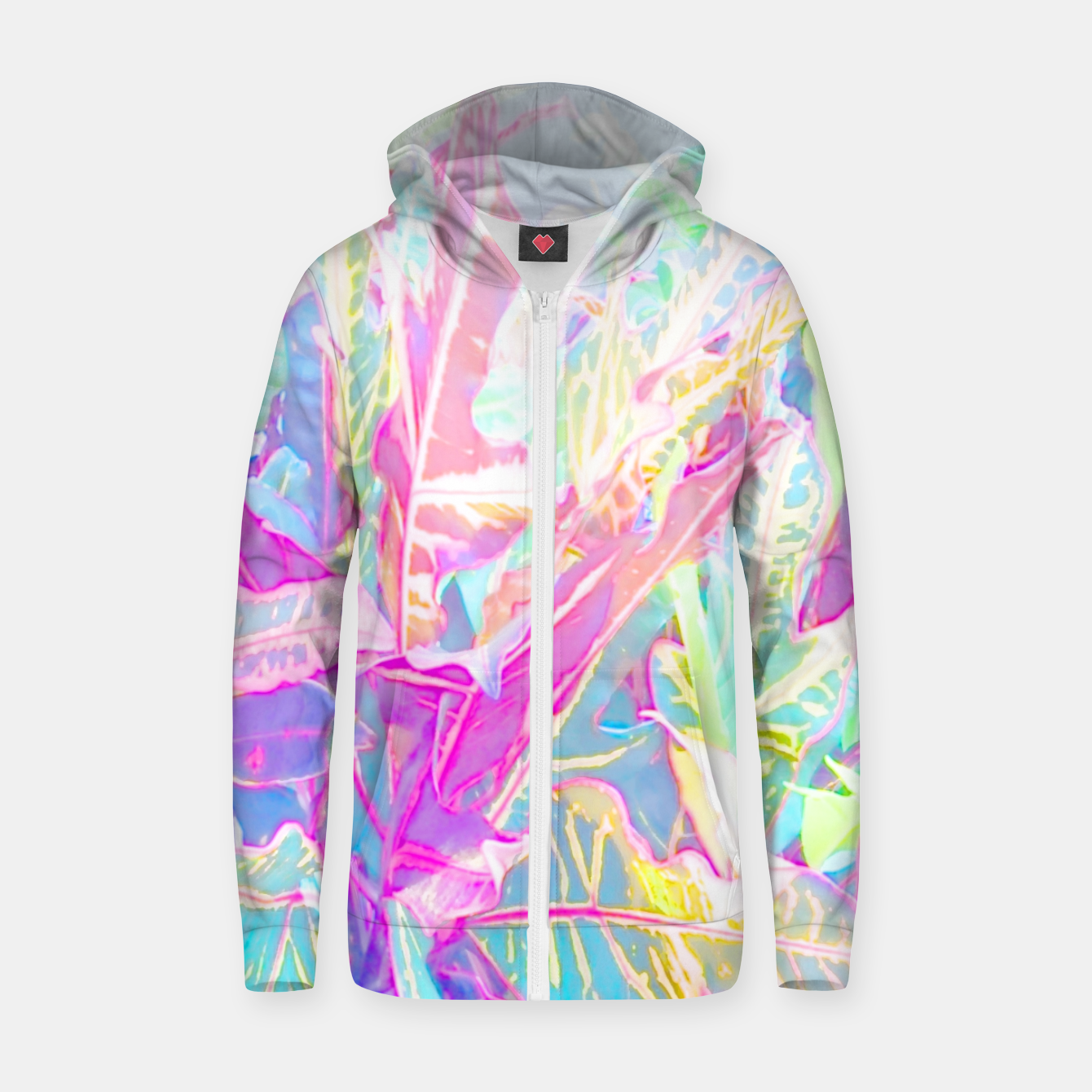 Image of Tropical croton leaves 1/2 Zip up hoodie - Live Heroes