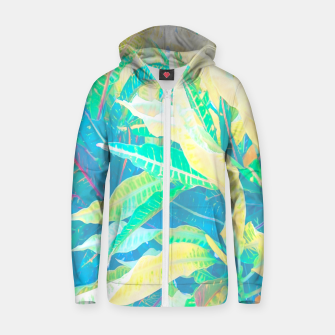 Thumbnail image of tropical croton leaves 3 Zip up hoodie, Live Heroes
