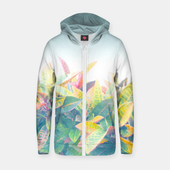 Thumbnail image of After the rain / Tropical Croton Leaves 4 Zip up hoodie, Live Heroes