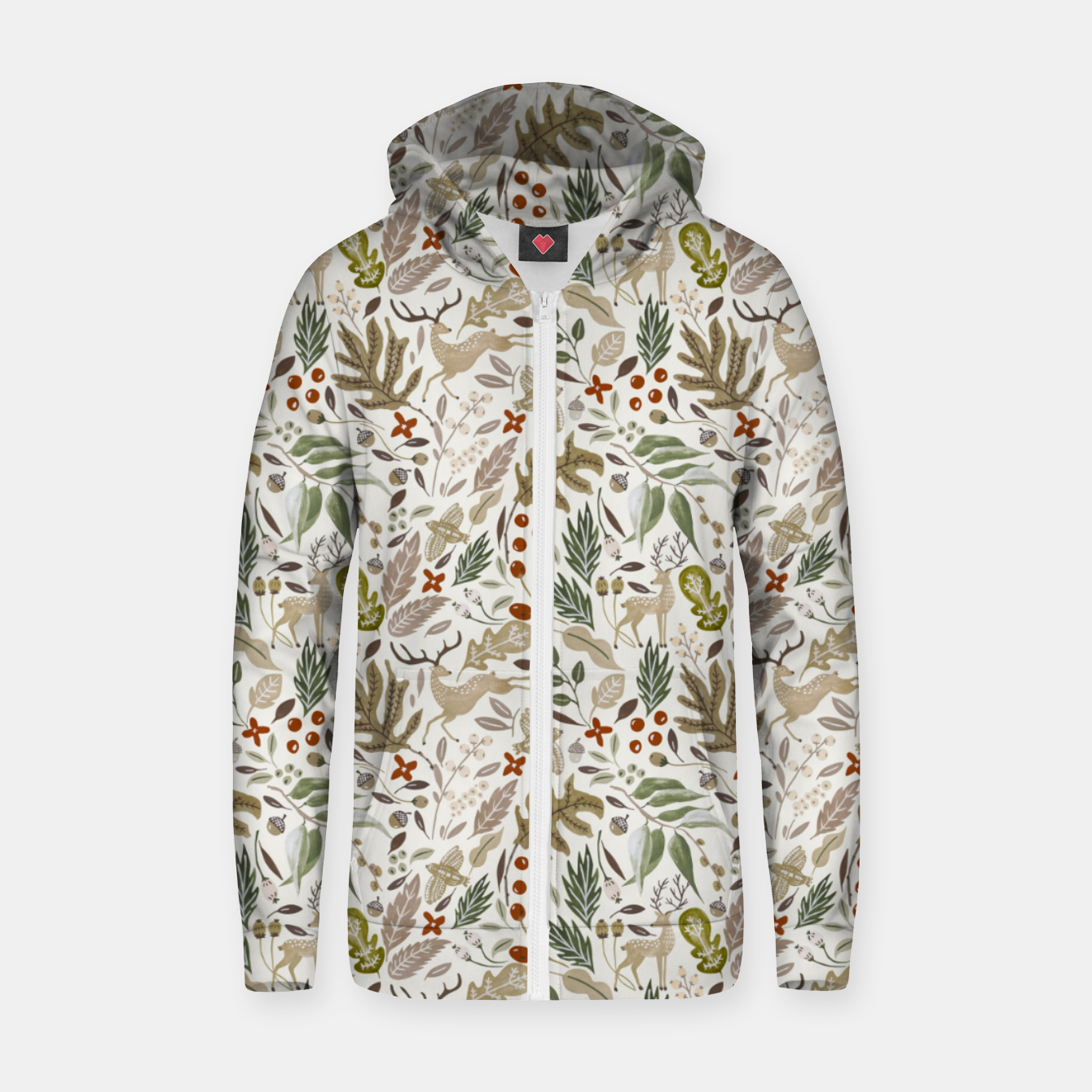 Image of Christmas in the wild nature Sudadera con capucha y cremallera  - Live Heroes