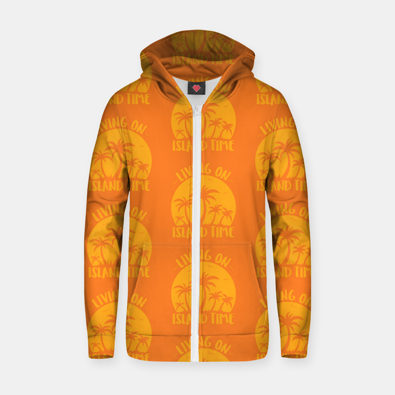Image of Living On Island Time Palm Trees And Sunset Zip up hoodie - Live Heroes