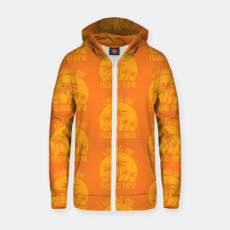 Living On Island Time Palm Trees And Sunset Zip up hoodie thumbnail image
