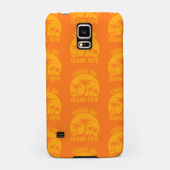 Living On Island Time Palm Trees And Sunset Samsung Case Bild der Miniatur