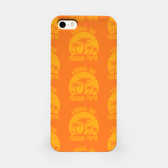 Living On Island Time Palm Trees And Sunset iPhone Case thumbnail image