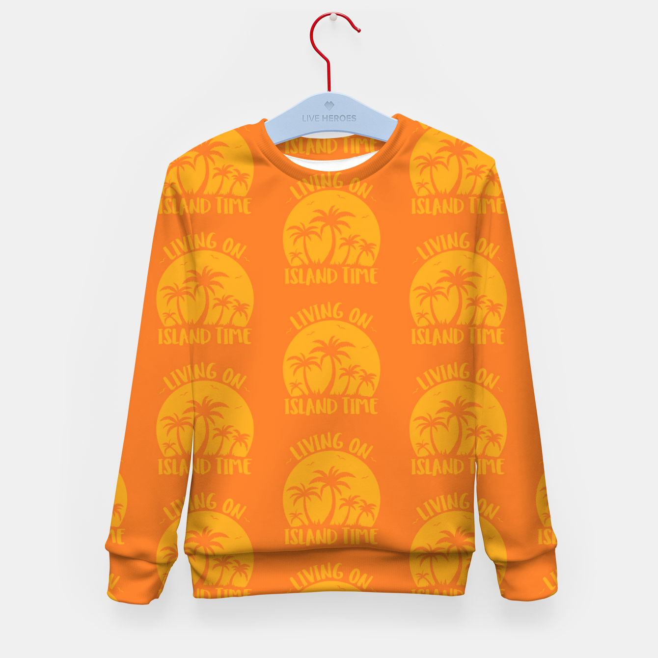 Foto Living On Island Time Palm Trees And Sunset Kid's sweater - Live Heroes