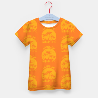 Living On Island Time Palm Trees And Sunset Kid's t-shirt Bild der Miniatur