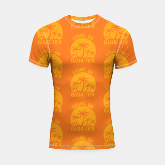 Living On Island Time Palm Trees And Sunset Shortsleeve rashguard Bild der Miniatur
