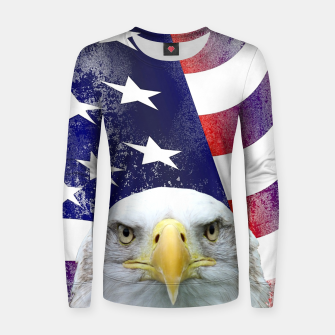 Miniatur American Flag and Bald Eagle Women sweater, Live Heroes