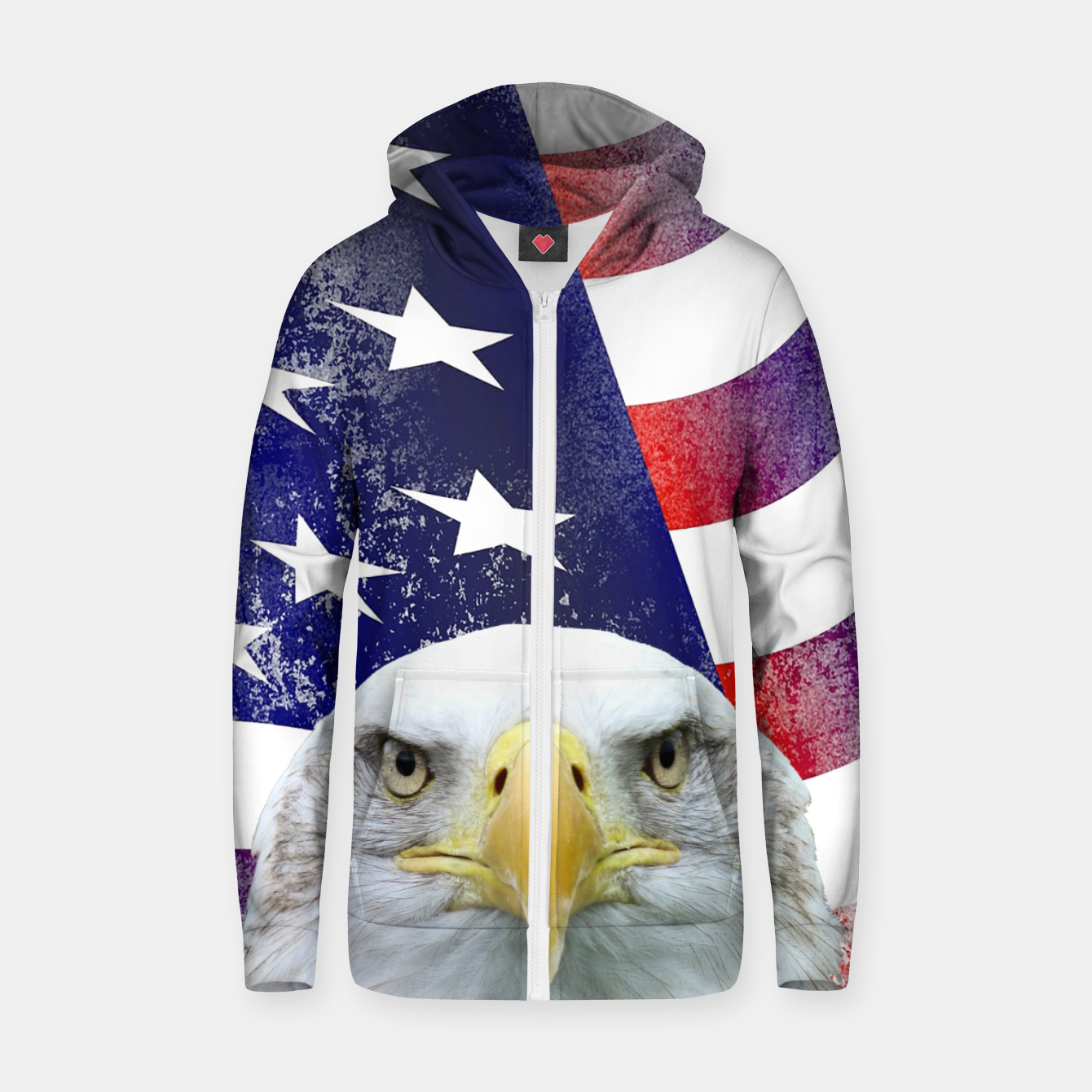 Image of American Flag and Bald Eagle Zip up hoodie - Live Heroes