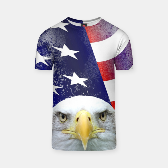 Miniatur American Flag and Bald Eagle T-shirt, Live Heroes