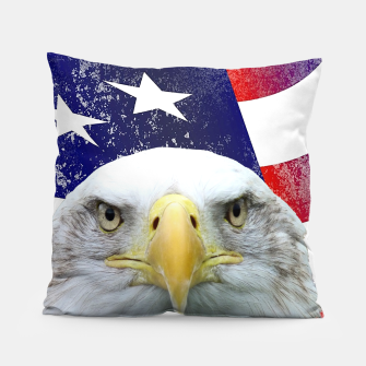 Miniatur American Flag and Bald Eagle Pillow, Live Heroes