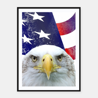Miniatur American Flag and Bald Eagle Framed poster, Live Heroes
