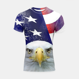 Miniatur American Flag and Bald Eagle Shortsleeve rashguard, Live Heroes