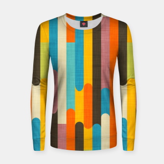 Retro Color Block Popsicle Sticks Orange  Women sweater thumbnail image