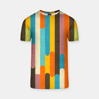 Retro Color Block Popsicle Sticks Orange  T-shirt thumbnail image