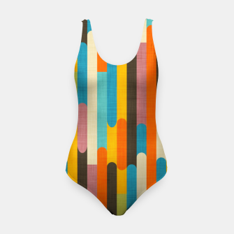 Retro Color Block Popsicle Sticks Orange  Swimsuit thumbnail image