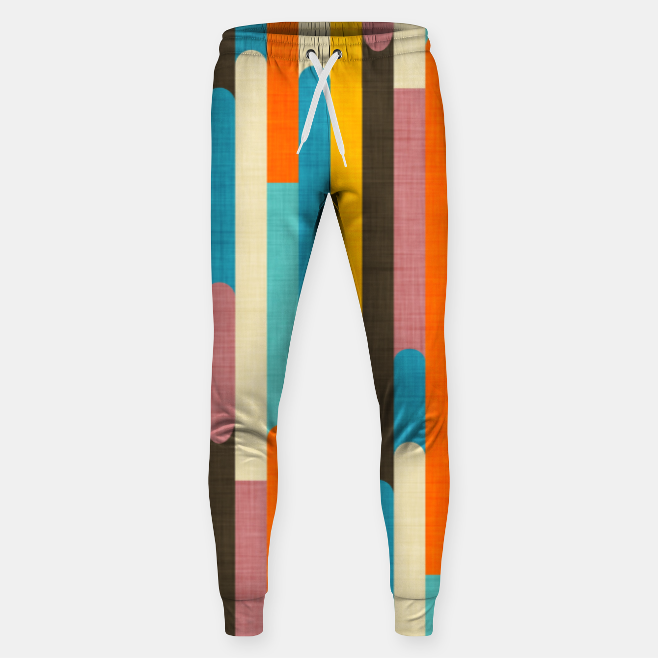Image of Retro Color Block Popsicle Sticks Orange  Sweatpants - Live Heroes