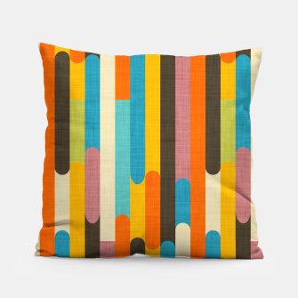 Retro Color Block Popsicle Sticks Orange  Pillow thumbnail image