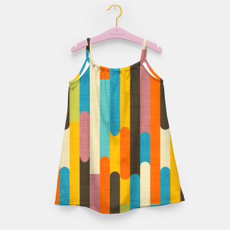 Retro Color Block Popsicle Sticks Orange  Girl's dress thumbnail image
