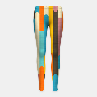 Retro Color Block Popsicle Sticks Orange  Girl's leggings thumbnail image