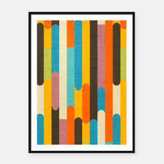 Retro Color Block Popsicle Sticks Orange  Framed poster thumbnail image