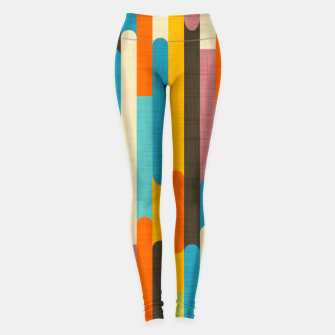 Retro Color Block Popsicle Sticks Orange  Leggings thumbnail image