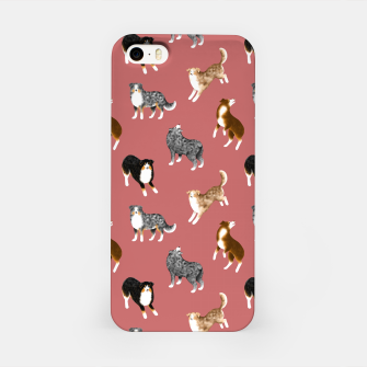 Australian Shepherd Pattern (Rust Red Background) iPhone Case thumbnail image