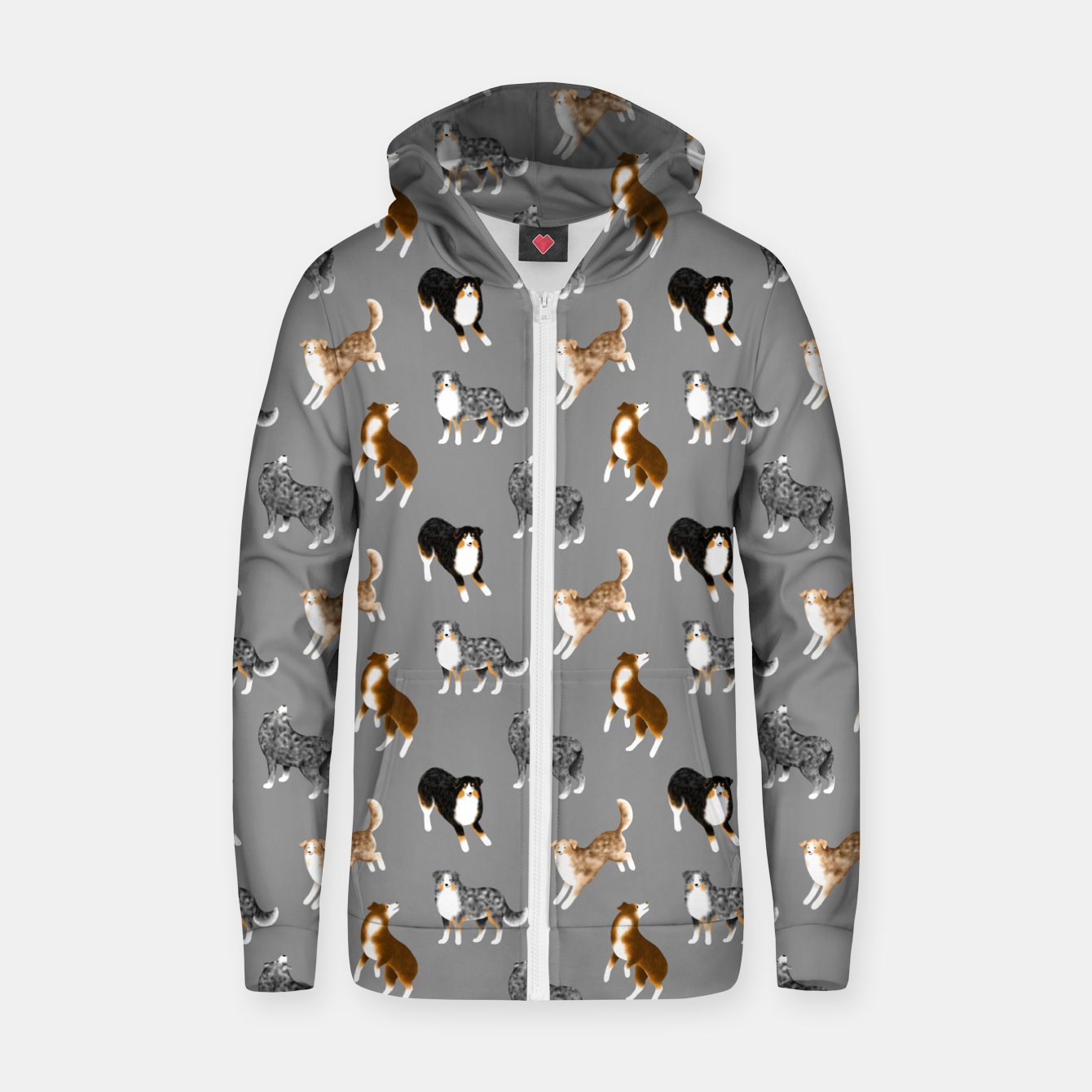 Image of Australian Shepherd Pattern (Grey Background) Zip up hoodie - Live Heroes