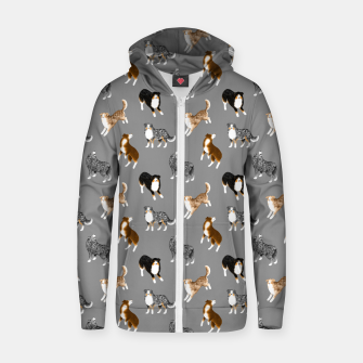 Australian Shepherd Pattern (Grey Background) Zip up hoodie thumbnail image