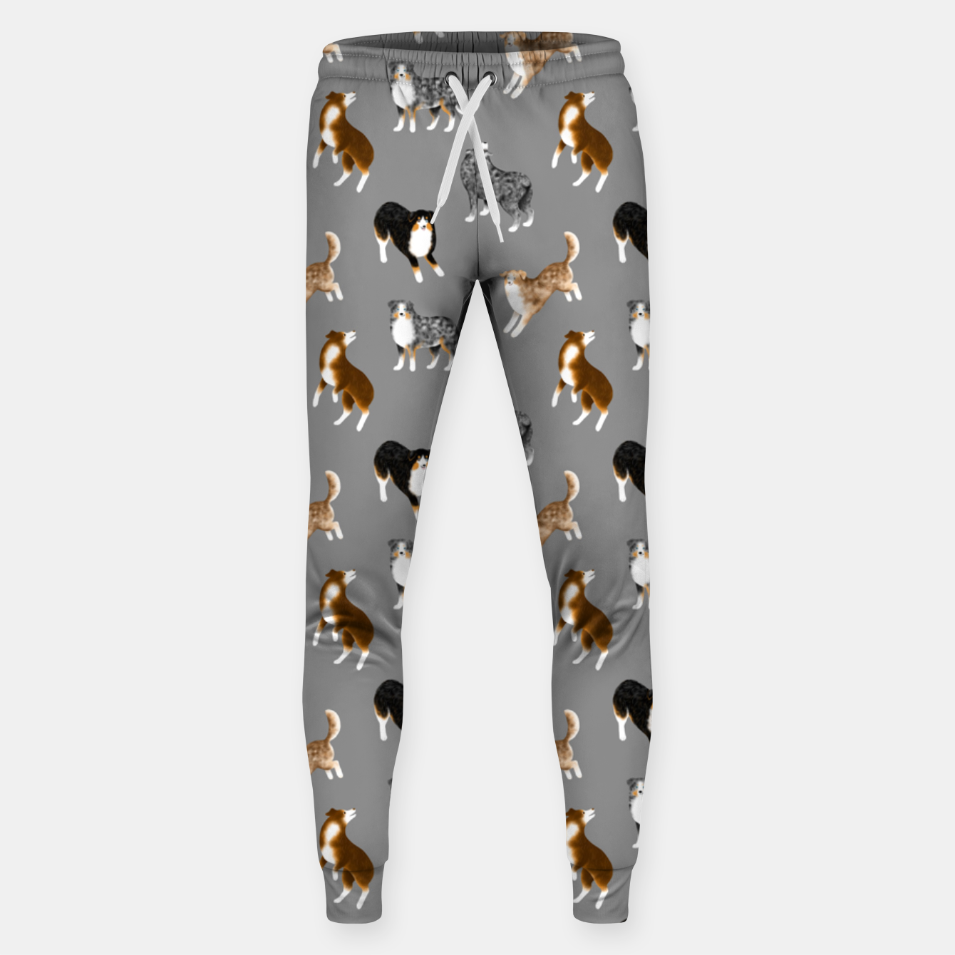 Image of Australian Shepherd Pattern (Grey Background) Sweatpants - Live Heroes
