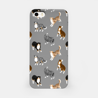Australian Shepherd Pattern (Grey Background) iPhone Case thumbnail image