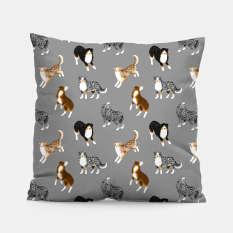 Australian Shepherd Pattern (Grey Background) Pillow thumbnail image