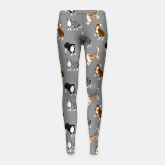 Australian Shepherd Pattern (Grey Background) Girl's leggings thumbnail image