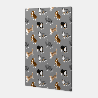 Australian Shepherd Pattern (Grey Background) Canvas thumbnail image
