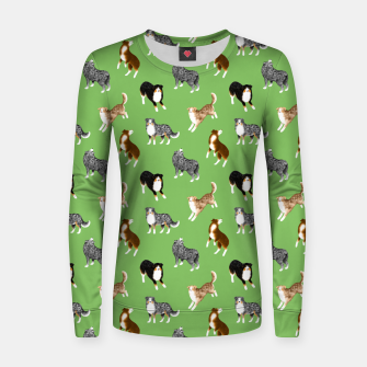 Thumbnail image of Australian Shepherd Pattern (Green Background) Women sweater, Live Heroes