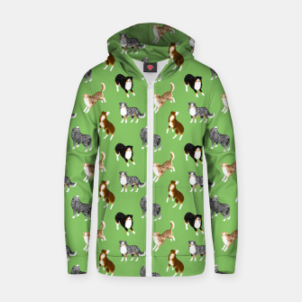Thumbnail image of Australian Shepherd Pattern (Green Background) Zip up hoodie, Live Heroes