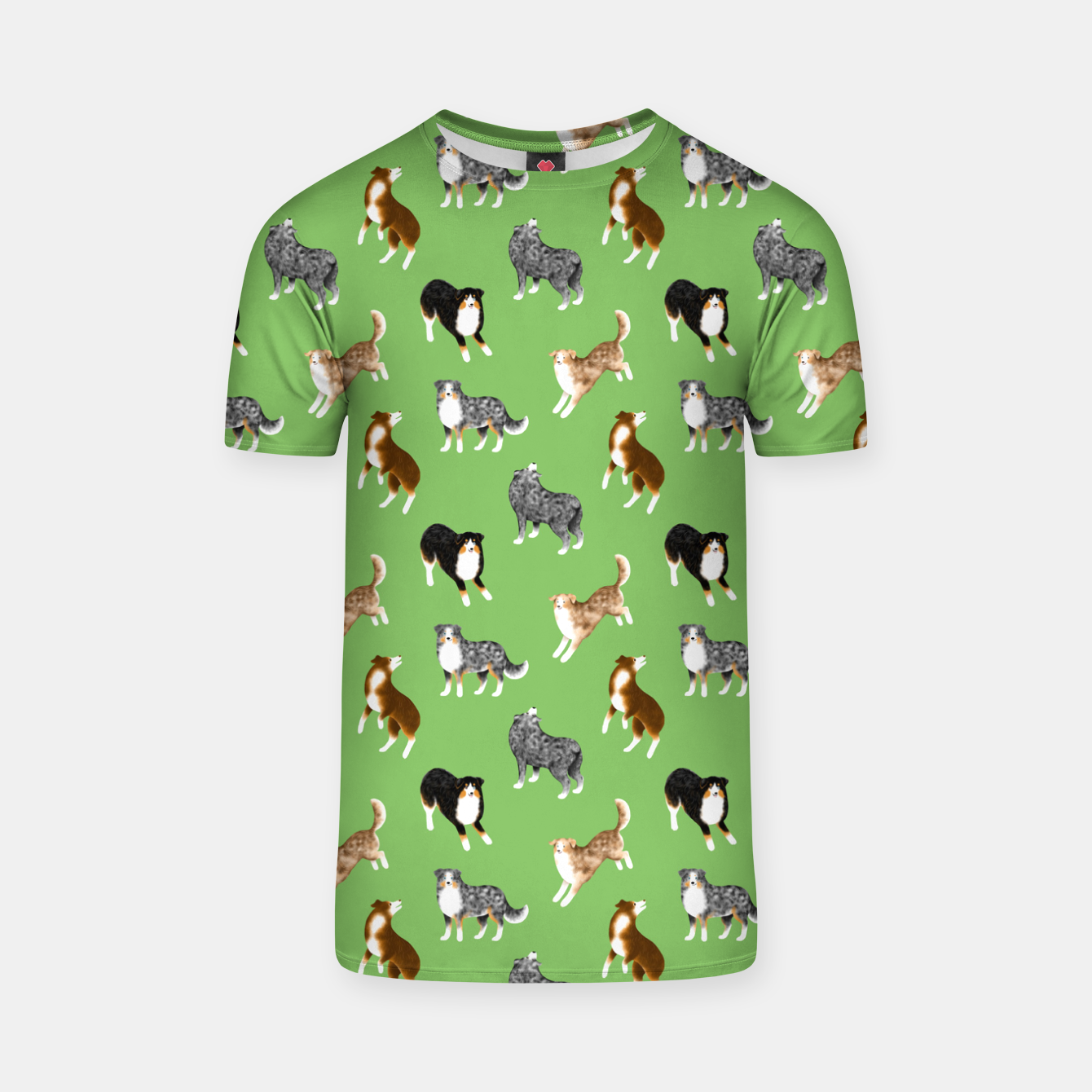 Image of Australian Shepherd Pattern (Green Background) T-shirt - Live Heroes