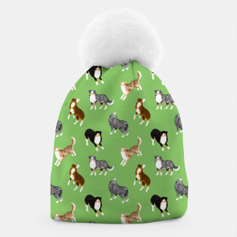 Thumbnail image of Australian Shepherd Pattern (Green Background) Beanie, Live Heroes