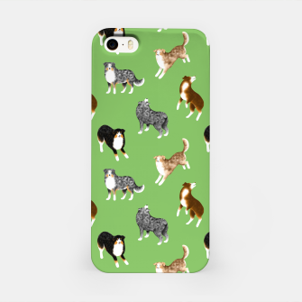 Thumbnail image of Australian Shepherd Pattern (Green Background) iPhone Case, Live Heroes