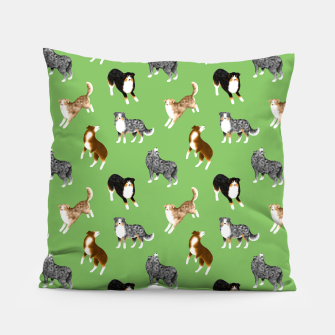 Thumbnail image of Australian Shepherd Pattern (Green Background) Pillow, Live Heroes