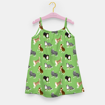 Thumbnail image of Australian Shepherd Pattern (Green Background) Girl's dress, Live Heroes